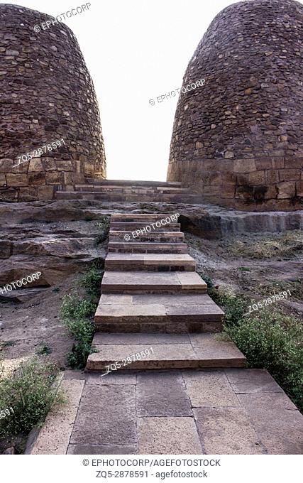 Granaries on the way to Upper Shivalaya, North Fort, Badami, Karnataka, India