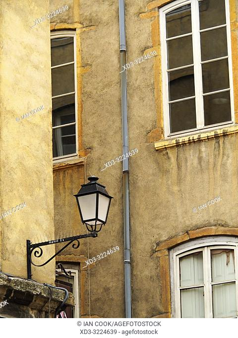 traditional street lamp in old town, Lyon, Auvergne-Rhone-Alps, France
