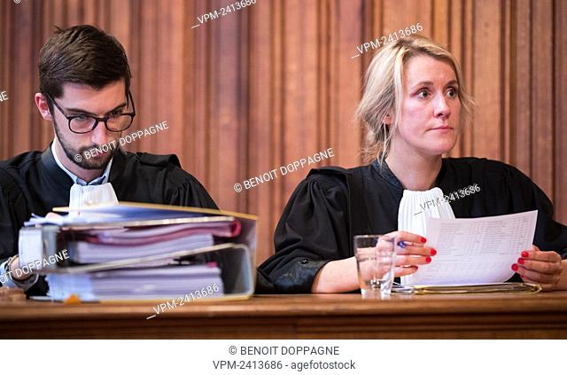 Lawyer Antoine Lefebvre and Lawyer Audrey Bellens pictured during the jury composition of the assizes trial of Francis Kaiser before the Assizes Court of Liege