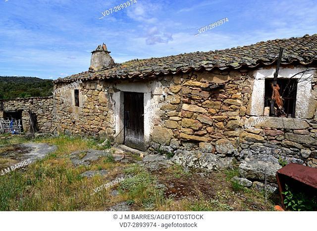 Popular architecture. House building with granite blocks. Mamoles, Sayago, Zamora Province, Castilla-Leon, Spain