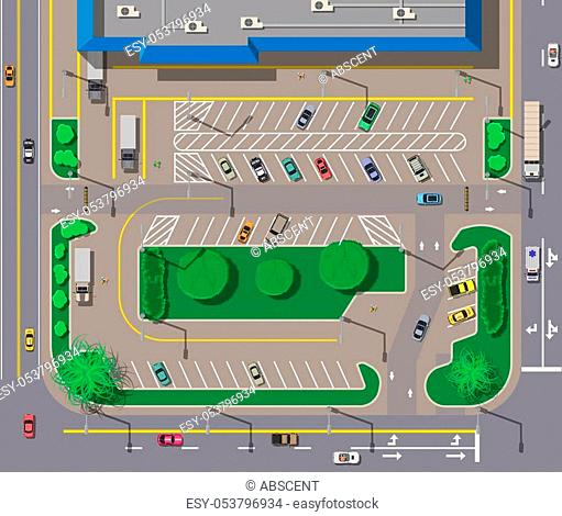 Big shopping center or mall and parking for cars. City parking lot with different cars. Tree area. Parking zone top view with various vehicles