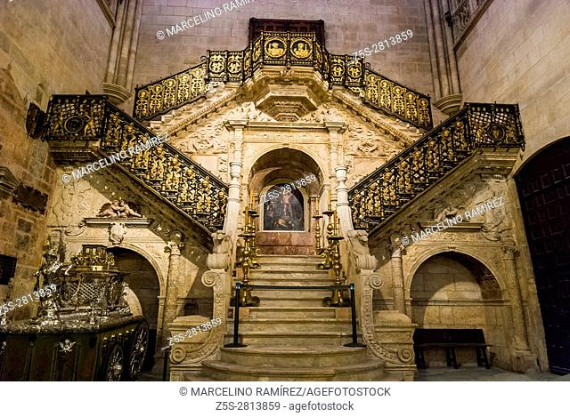 The Renaissance Golden staircase by Diego de Siloé. Cathedral of Saint Mary of Burgos. Burgos, Castile and Leon, Spain, Europe