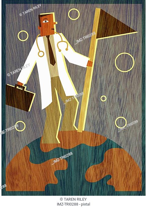 A doctor holding a briefcase and planting a flag on top of the world