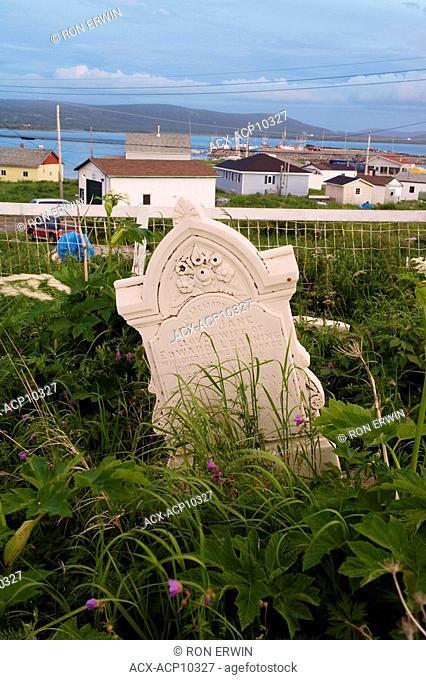 Tombstones in the old graveyard in Cartwright, Labrador, Newfoundland and Labrador, Canada