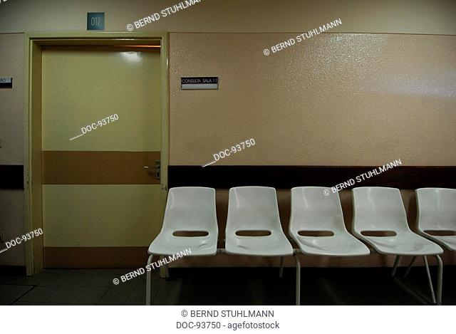 waiting area with chairs in a hospital