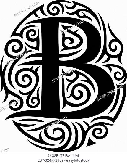 letter B tattoo tribal design