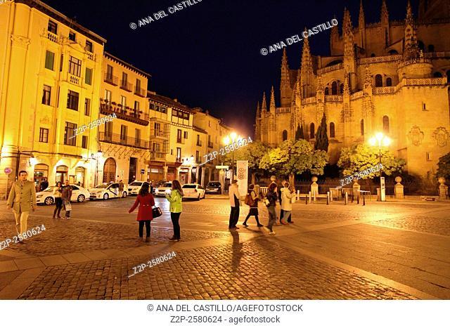 Cathedral in Segovia (Spain) at night from Plaza Mayor square on November 9, 2013 in Segovia Spain