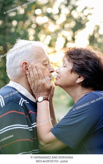 Profile of senior couple in love