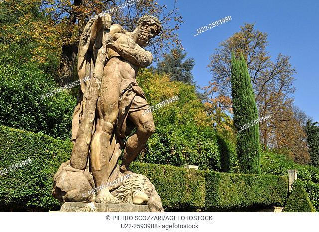 Italy, Emilia Romagna, Bologna, statue at Villa Spada park