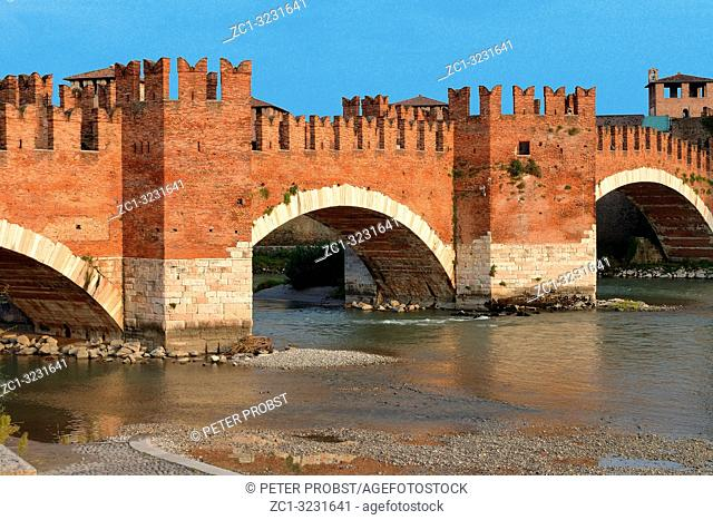 Castelvecchio bridge Ponte Scaligero over the river Adige in Verona - Italy