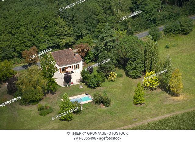 France, Quercy, Lot (46), Le Mas village, private house viewed from Saint-Cirq-Lapopie village