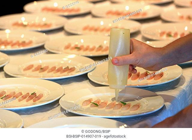 Preparing culinary dishes. Banquet