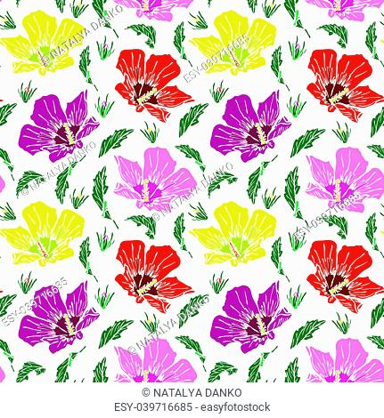 blooming pink, red and yellow mallow, seamless pattern isolated on white background, hand-drawn pattern