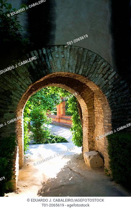 Arch, Alcazar of Seville. Andalucia. Spain