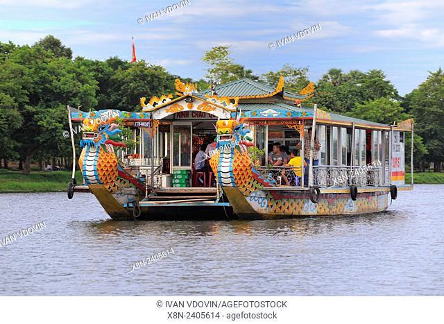 Tourist boat on Perfume River, Hue, Vietnam