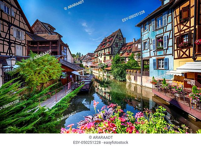 "summer panorama in Colmar, named """" Little Venice"""". Alsace region in France"