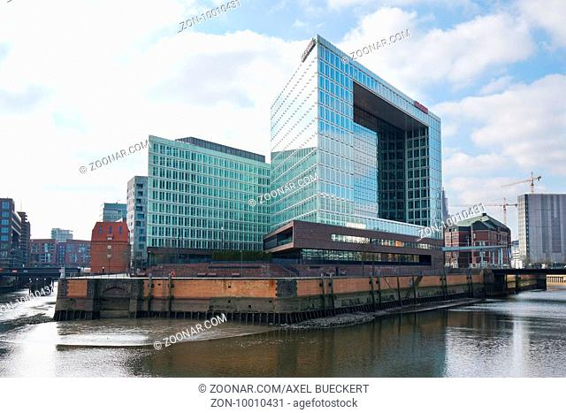 Hamburg, Germany - March 12,2016: Headquarter of German magazine and publishing house Der Spiegel at Ericusspitze in Hafencity district