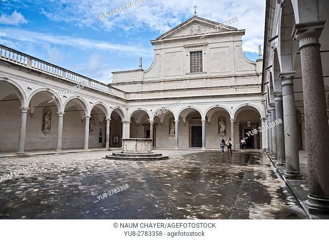 The façade of the church of One of most known Abbeys in the world the Abbey of Montecassino, Cassino, Italy, Europe, . .