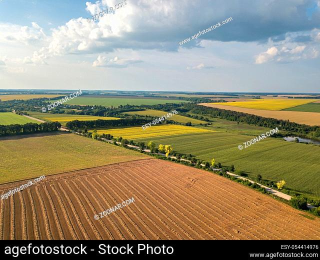Abstract geometric forms of agricultural fields with different crops and soil without crop sowing, separated by road with river, trees in green yellow colors