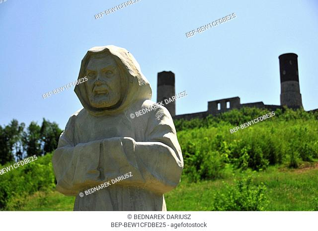 A statue on the hill leading to the castle and ruins of the royal castle in Chentshin, Swietokrzyskie Voivodeship, Poland