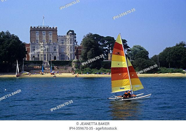 Sailing past the castle on the National Trust island of Brownsea in Poole Harbour