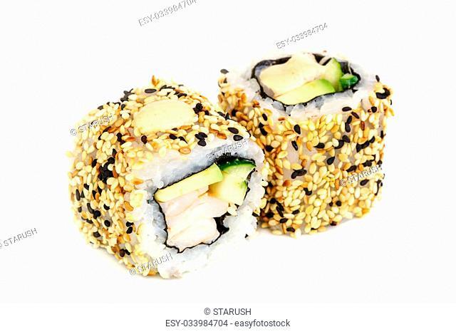 Uramaki maki sushi, two rolls isolated on white. Philadelphia cheese, crab meat, avocado and sesame