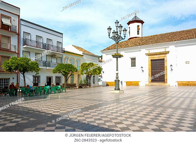 Plaza General Franco in Ubrique, province of Cádiz, largest of the White Towns, Pueblos Blancos of Andalusia, Spain
