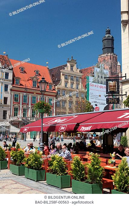 The Stary Rynek place in the starlings Miasto or Old Town in centre of Wroclaw or Wroclaw in Silesia in Poland