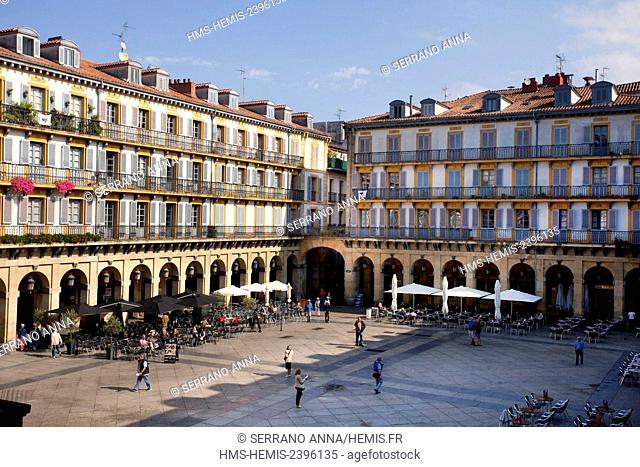 Spain, Basque Country, Guipuzcoa province (Guipuzkoa), San Sebastian (Donostia), European capital of culture 2016, Plaza de la Constituciión square