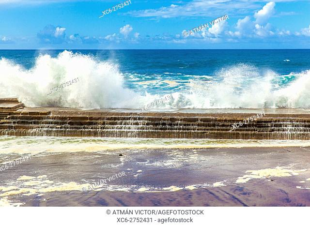 sea tempest in Bajamar municipality (Tenerife island) Spain