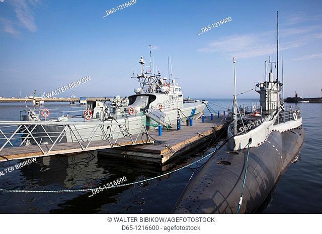 Estonia, Tallinn, Estonian Maritime Museum, naval patrol boat and the former British submarine, Lembit, b  1936
