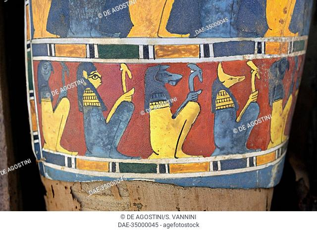 Cartonnage (Ancient Egyptian mummy case) covering the pelvic area and upper part of the legs of a mummy of a member of the middle class depicting Egyptian gods