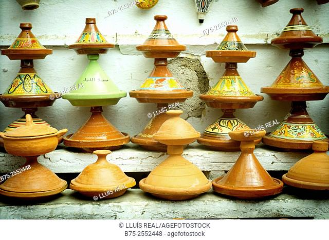 Tagine pot display in a pottery bussines in Fez, Morocco, Africa
