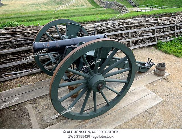Cannon in Dybbol Trenches, the old battlefield from 1864, in Sönderborg, South Jutland, Denmark