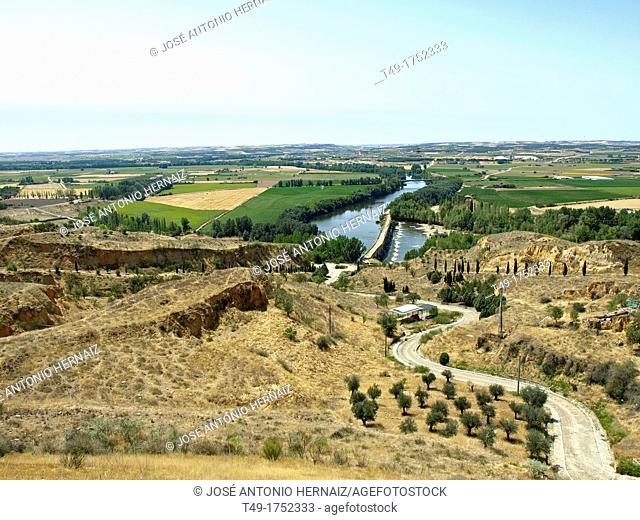 Aerial view of the river Duero from Toro, Zamora province, Castilla-Leon, Spain