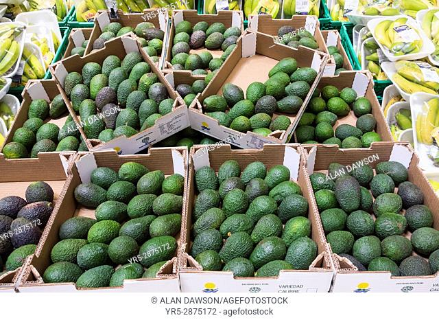 Locally grown Avocados and Bananas in supermarket in Las Palmas, Gran Canaria, Canary Islands, Spain