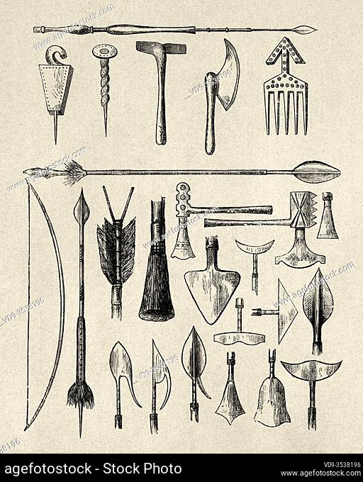 Traditional weapons and ornaments of the indigenous people of Louvale, Central Africa. Journey across Africa, from Zanzibar to Benguela by Verney Lovett Cameron