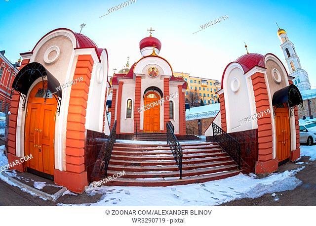 Russian orthodox church. Fisheye view of the Iversky monastery in Samara, Russia