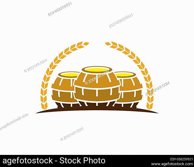 Circular wheat with three beer barrel inside