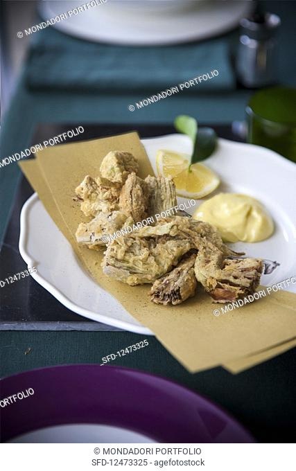 Fried Artichokes with Green Pepper Aioli