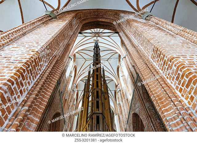 View of the nave from the apse. St. Peter's Church, Lutheran church,Riga, capital,Latvia, Saint Peter Riga, Latvia, Baltic states, Europe, St