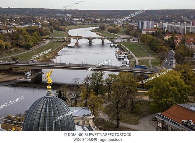 A view of the city from the Frauenkirche viewing platform in Dresden, Germany