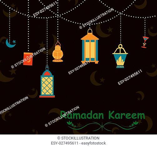 Collage style Ramdan Kareem greetings background in vector