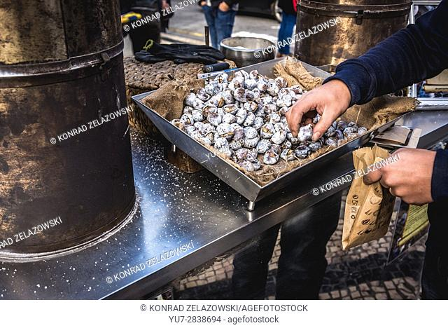Roasted chestnut for sale in Santo Ildefonso district of Porto city on Iberian Peninsula, second largest city in Portugal