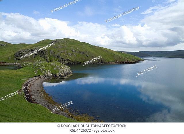 Skipadock SULLOM VOE SHETLAND Southness peninsular still water bay blue