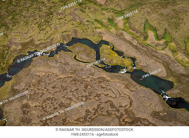 Aerial view of river in Northern Iceland