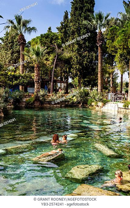 Tourists Swimming In Cleopatra's Pool, Pamukkale/Hierapolis, Denizli Provence, Turkey