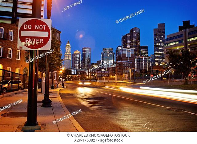 Boston cityscape at night, Boston, Massachusetts, USA