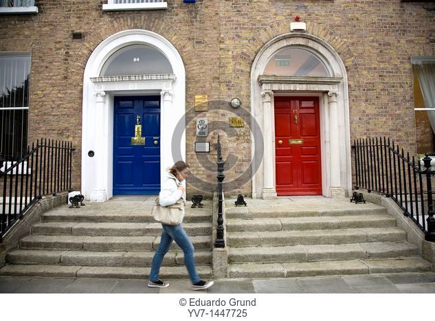 Traditional colourful doors in the buildings of Georgian style in Merrion Square  Dublin, Leinster, Ireland, Europe