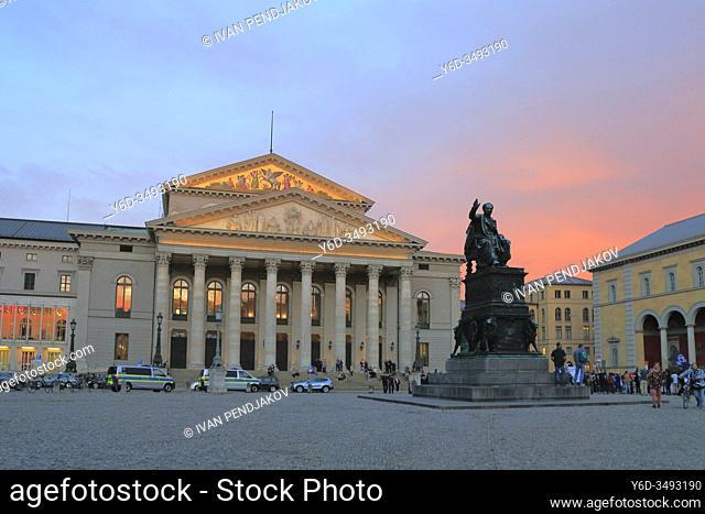 National Theatre at Sunset, Munich, Germany